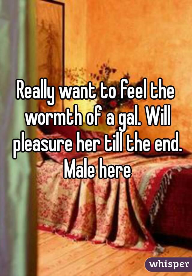 Really want to feel the wormth of a gal. Will pleasure her till the end. Male here