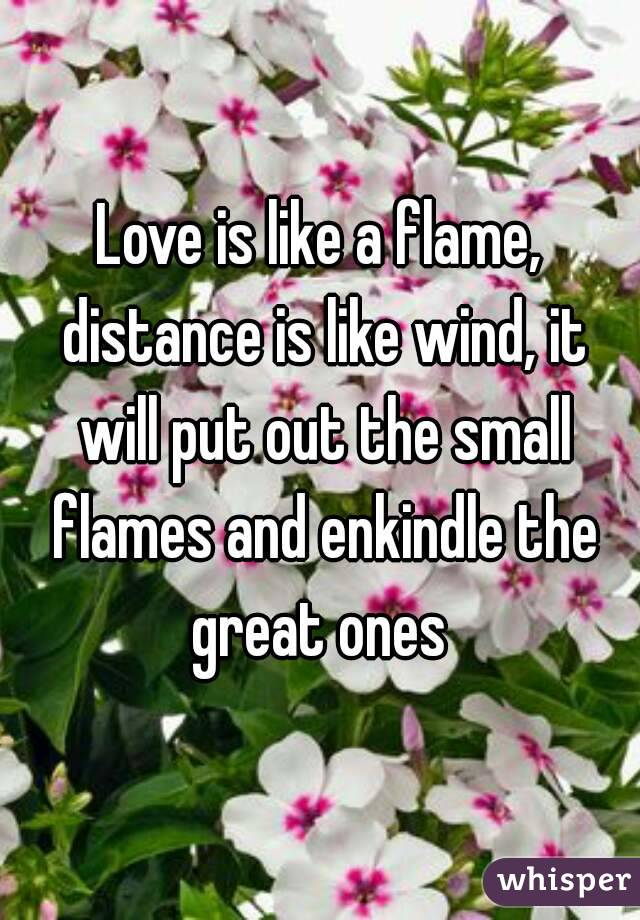 Love is like a flame, distance is like wind, it will put out the small flames and enkindle the great ones