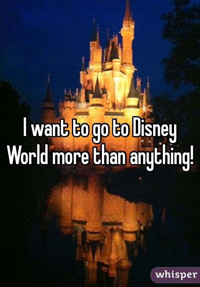 I want to go to Disney World more than anything!