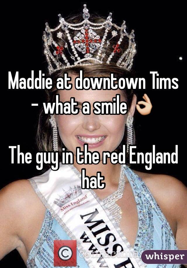 Maddie at downtown Tims - what a smile 👌   The guy in the red England hat
