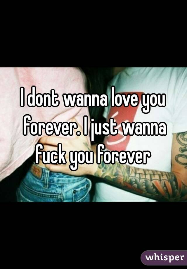 I dont wanna love you forever. I just wanna fuck you forever