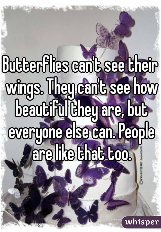 Butterflies can't see their wings. They can't see how beautiful they are, but everyone else can. People are like that too.
