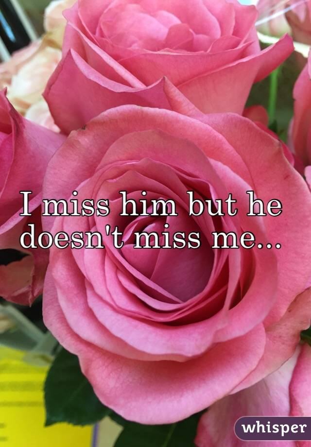 I miss him but he doesn't miss me...