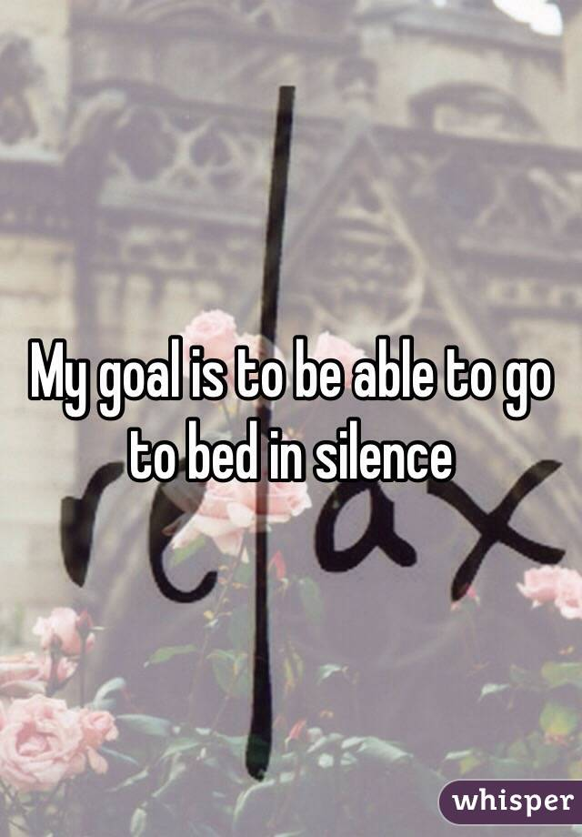My goal is to be able to go to bed in silence