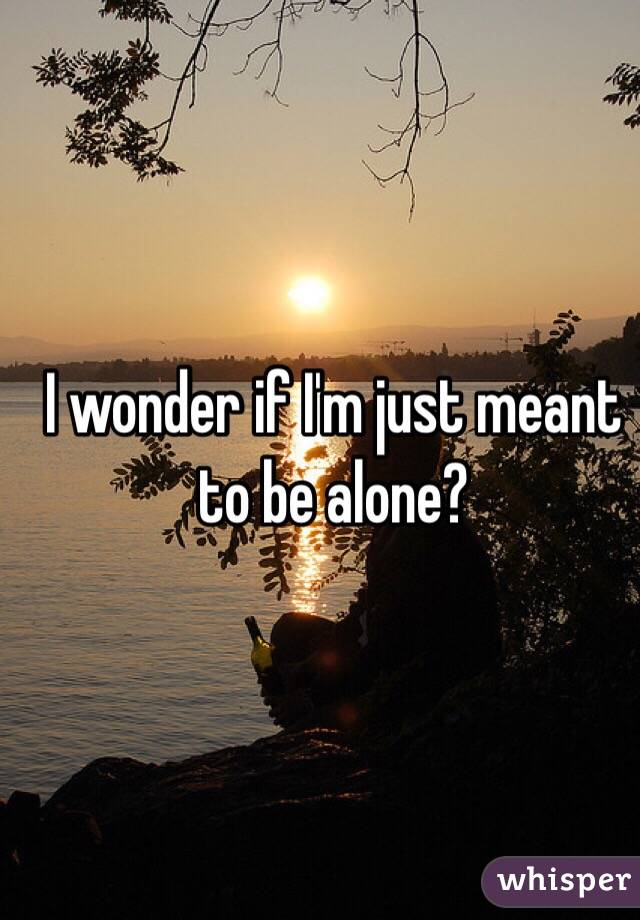 I wonder if I'm just meant to be alone?