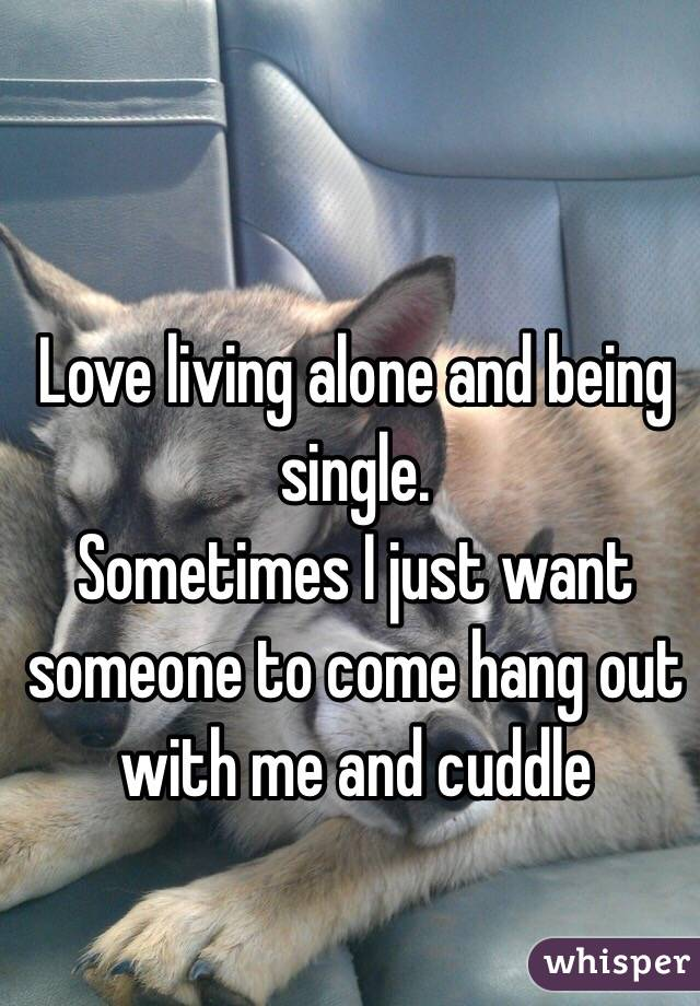 Love living alone and being single.  Sometimes I just want someone to come hang out with me and cuddle