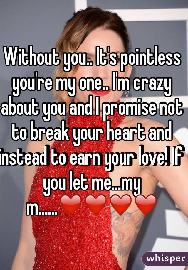 Without you.. It's pointless you're my one.. I'm crazy about you and I promise not to break your heart and instead to earn your love! If you let me...my m......❤️❤️❤️❤️