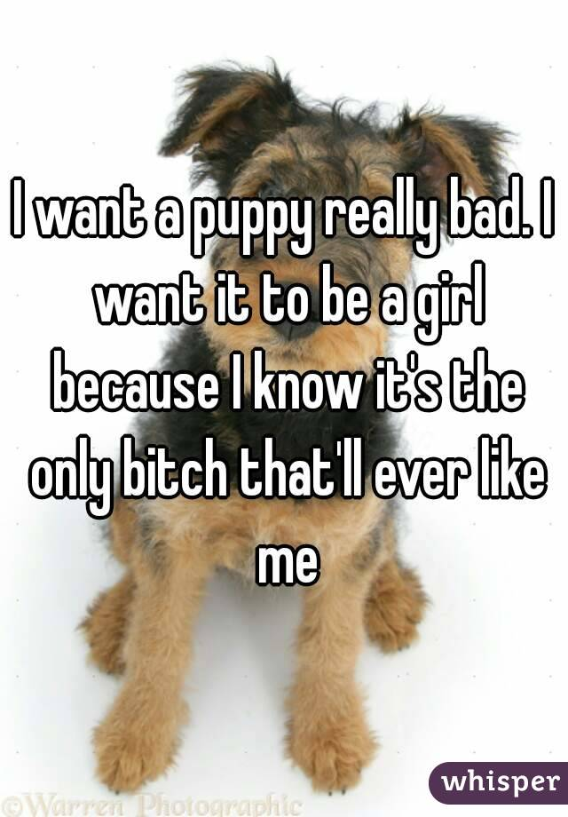 I want a puppy really bad. I want it to be a girl because I know it's the only bitch that'll ever like me