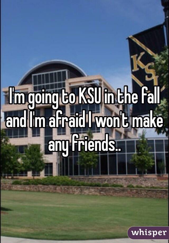 I'm going to KSU in the fall and I'm afraid I won't make any friends..