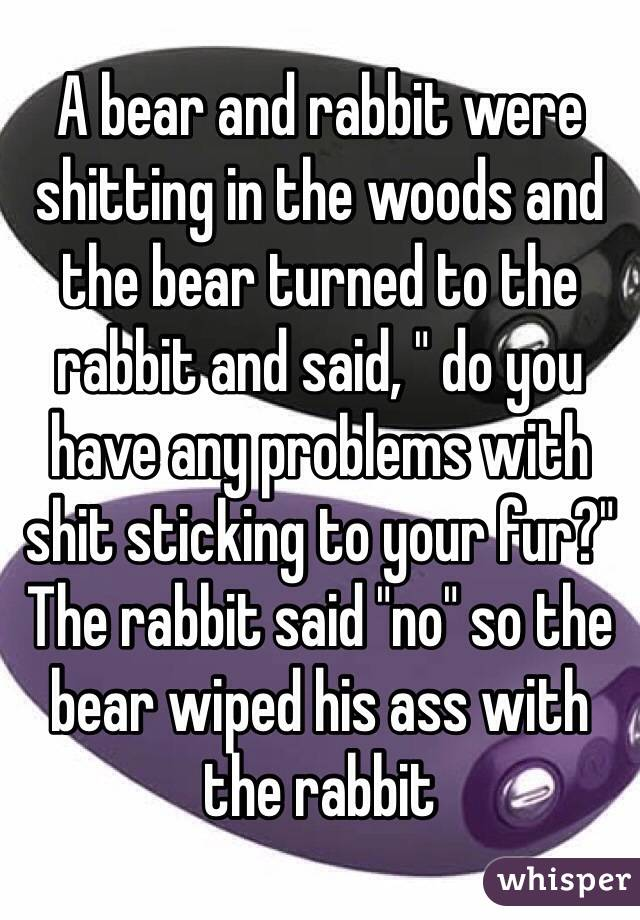 "A bear and rabbit were shitting in the woods and the bear turned to the rabbit and said, "" do you have any problems with shit sticking to your fur?"" The rabbit said ""no"" so the bear wiped his ass with the rabbit"