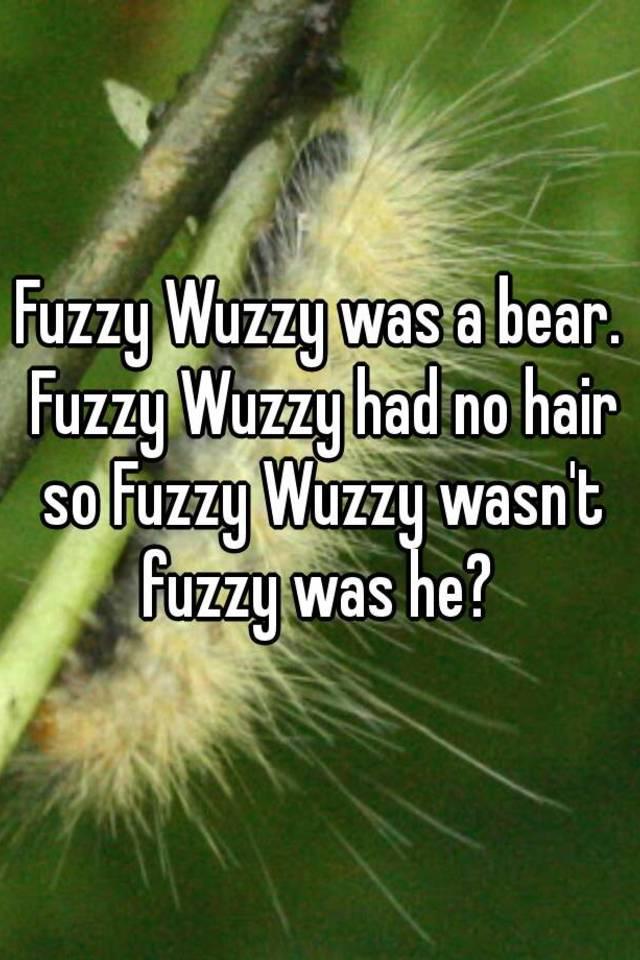 fuzzy wuzzy was a bear fuzzy wuzzy had no hair so fuzzy wuzzy wasn