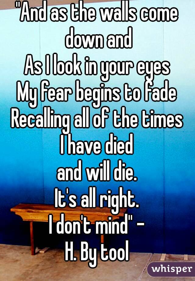 """""""And as the walls come down and As I look in your eyes My fear begins to fade Recalling all of the times I have died and will die. It's all right. I don't mind"""" - H. By tool"""
