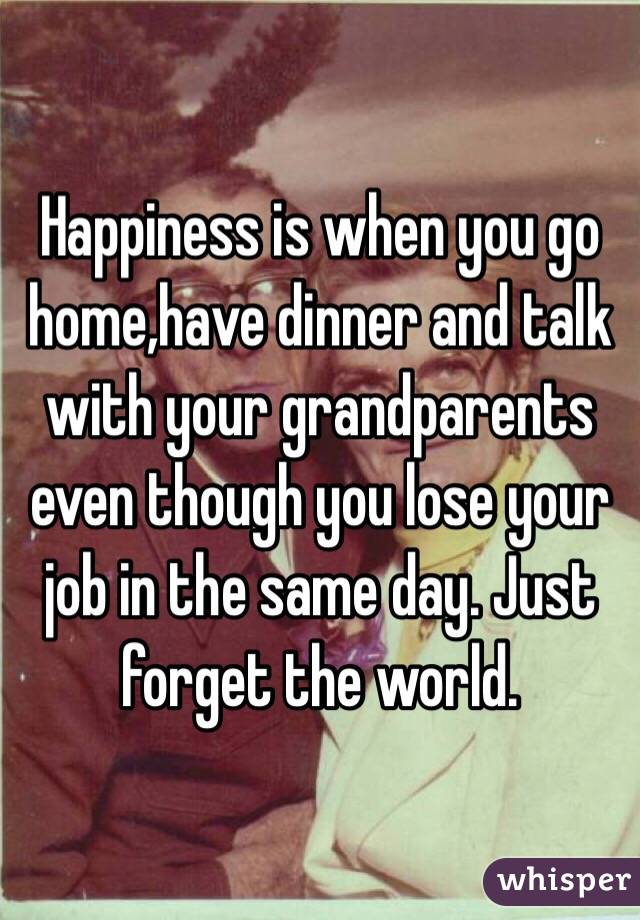 Happiness is when you go home,have dinner and talk with your grandparents even though you lose your job in the same day. Just forget the world.