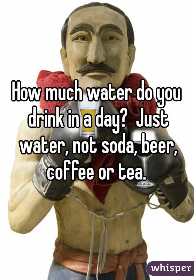 How much water do you drink in a day?  Just water, not soda, beer, coffee or tea.