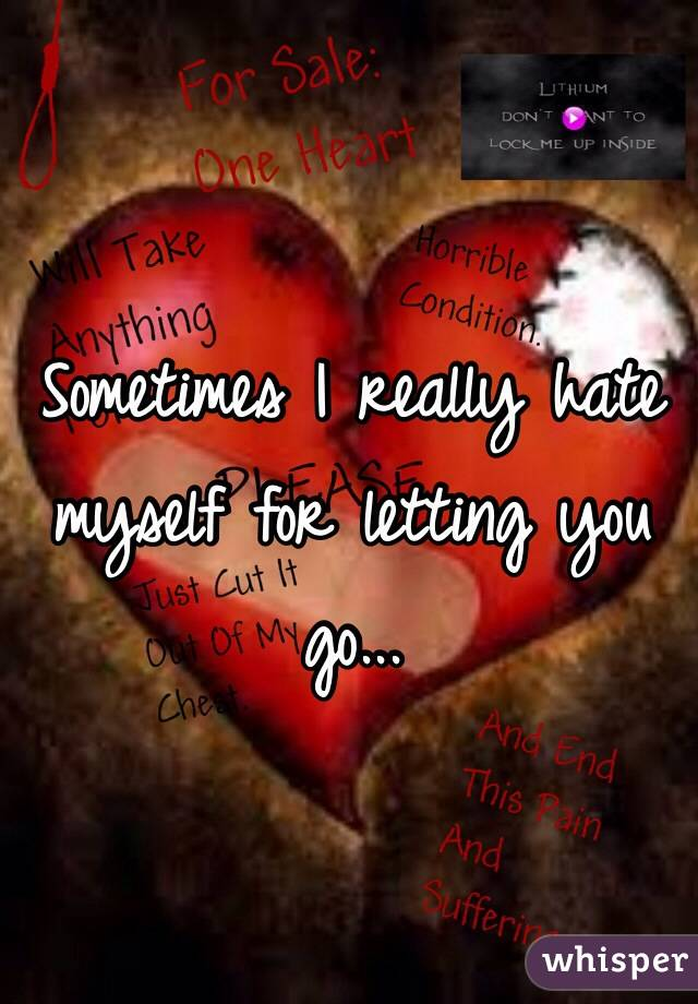 Sometimes I really hate myself for letting you go...