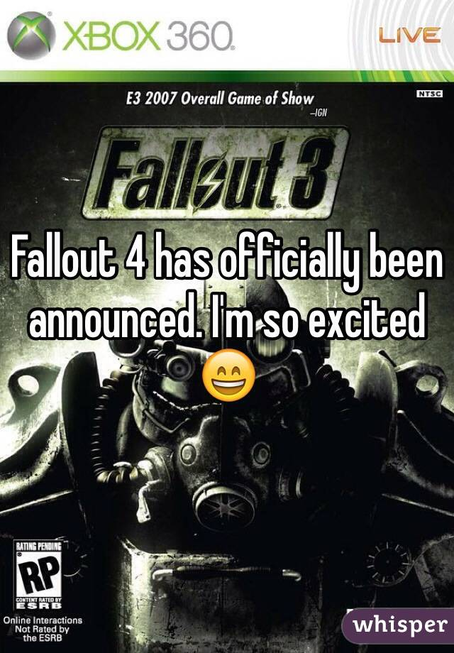Fallout 4 has officially been announced. I'm so excited 😄