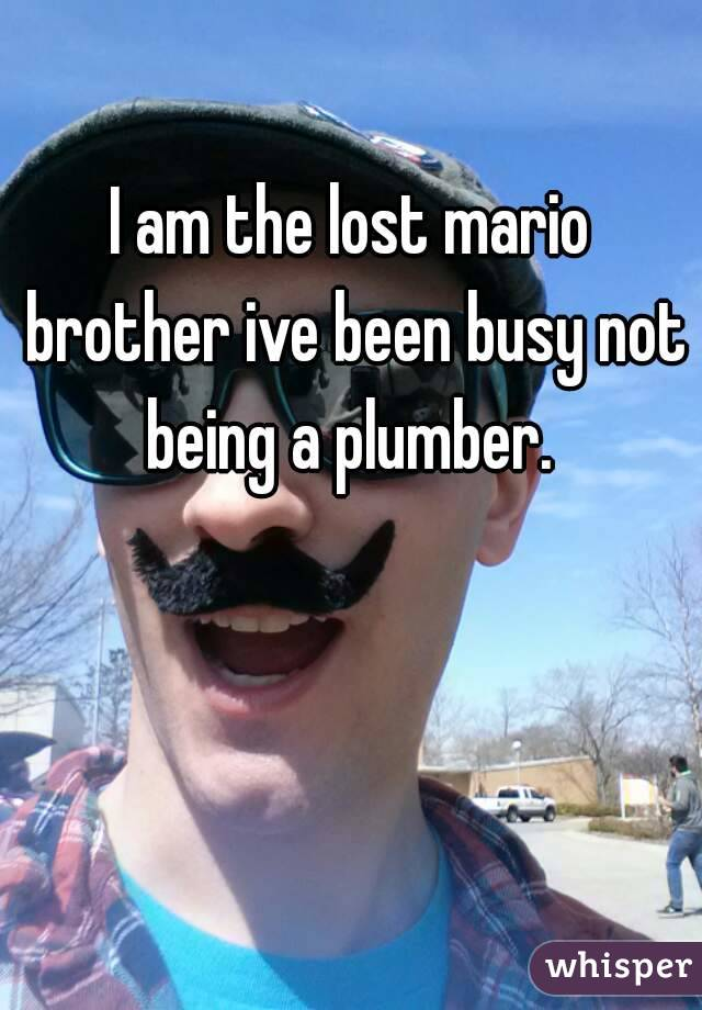 I am the lost mario brother ive been busy not being a plumber.