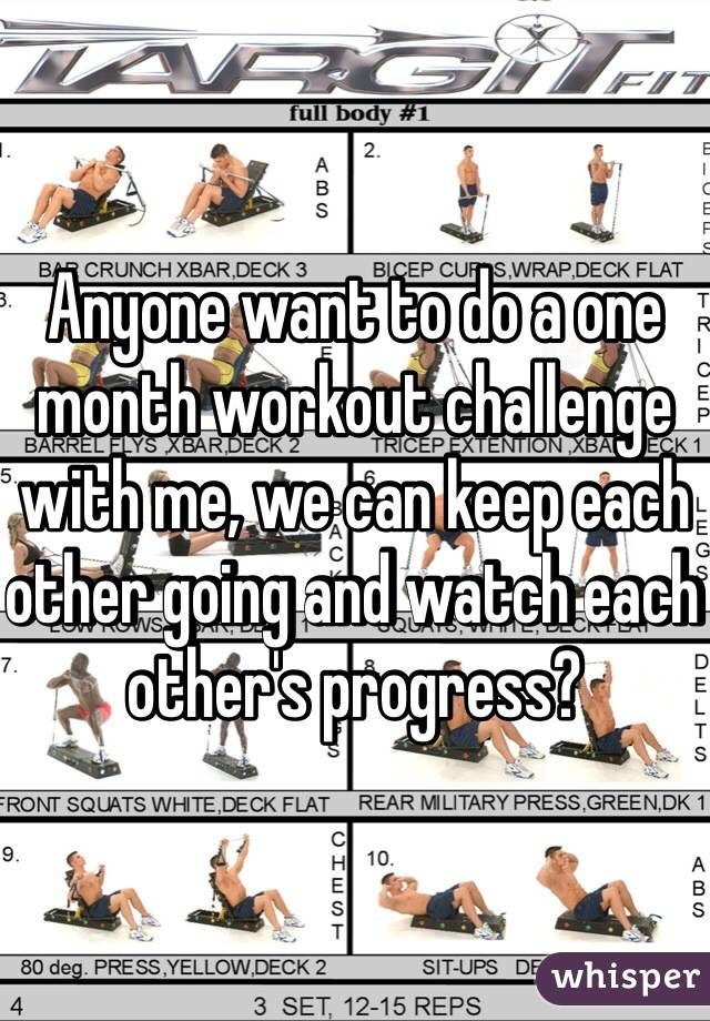 Anyone want to do a one month workout challenge with me, we can keep each other going and watch each other's progress?