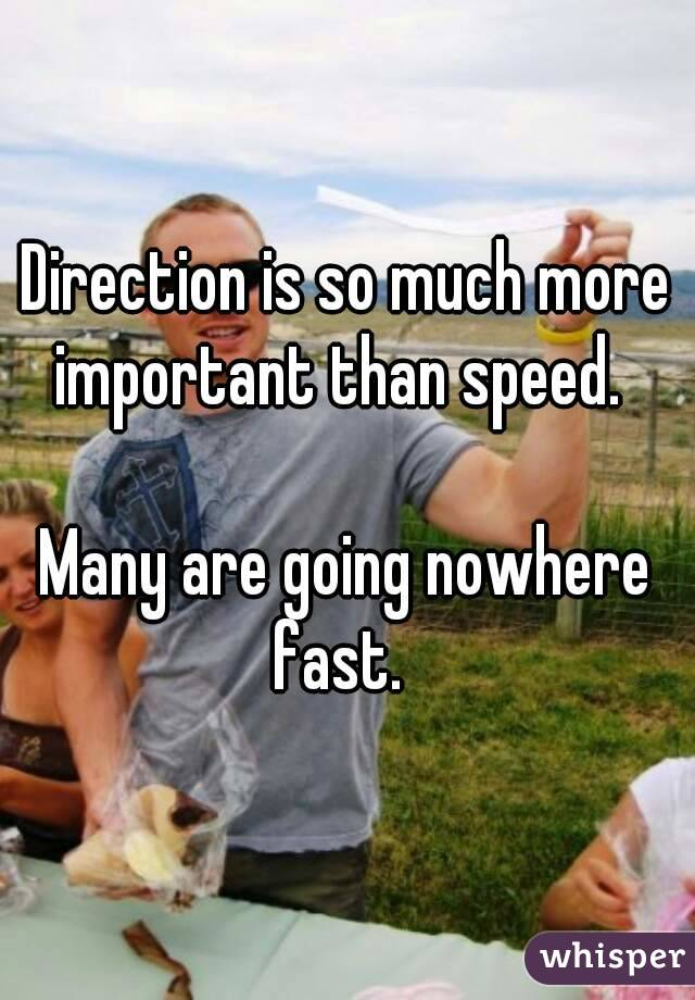 Direction is so much more important than speed.    Many are going nowhere fast.