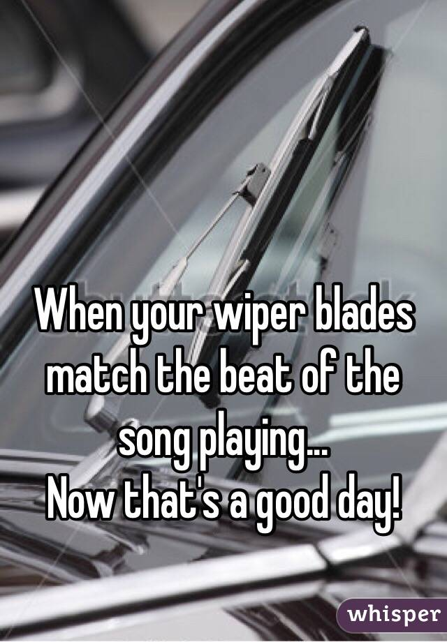 When your wiper blades match the beat of the song playing... Now that's a good day!