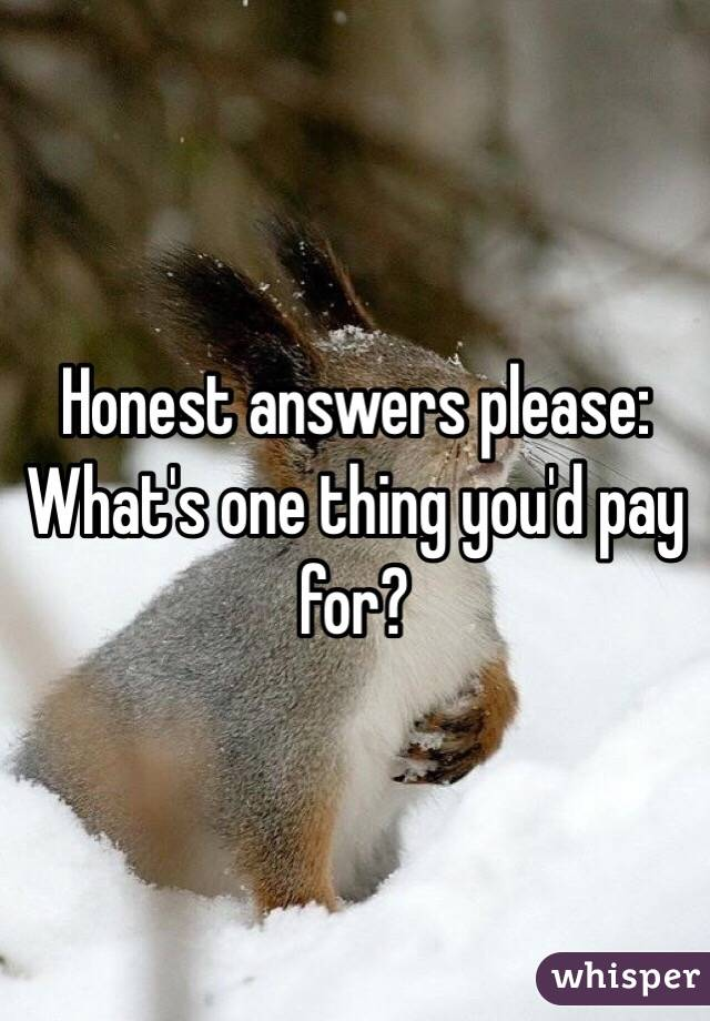 Honest answers please: What's one thing you'd pay for?