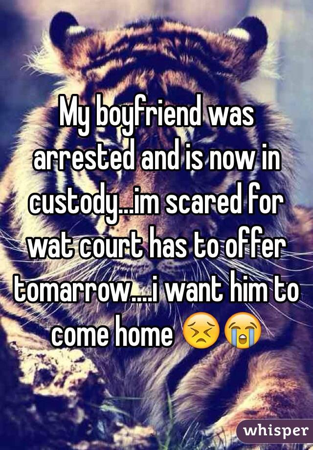 My boyfriend was arrested and is now in custody...im scared for wat court has to offer tomarrow....i want him to come home 😣😭