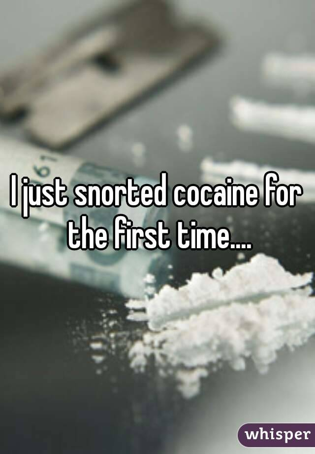 I just snorted cocaine for the first time....