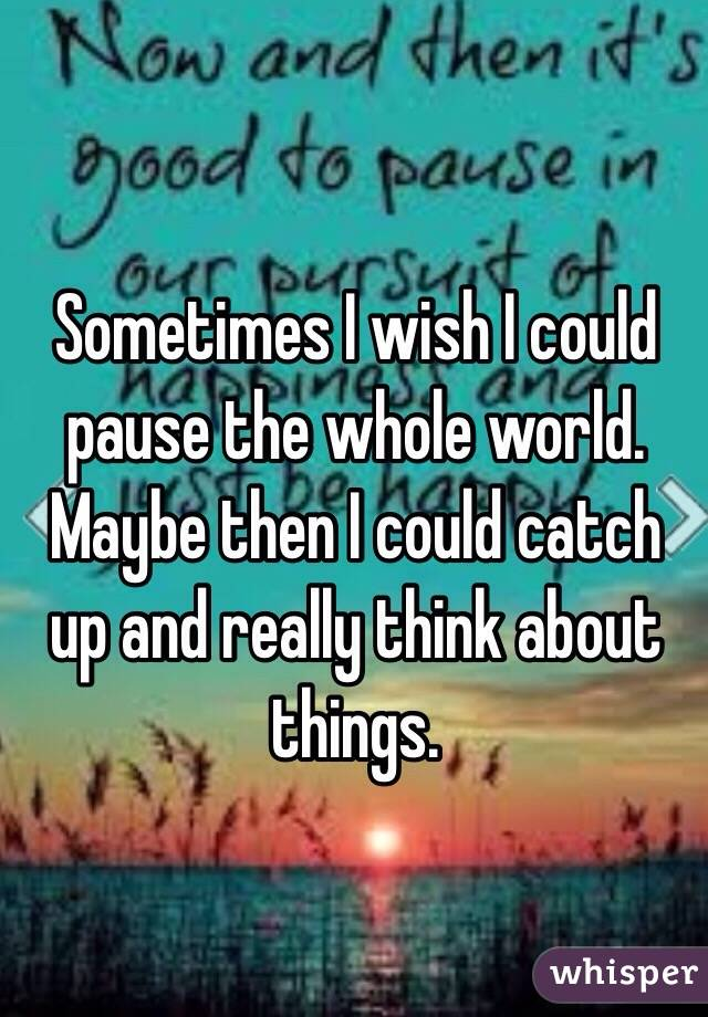 Sometimes I wish I could pause the whole world. Maybe then I could catch up and really think about things.