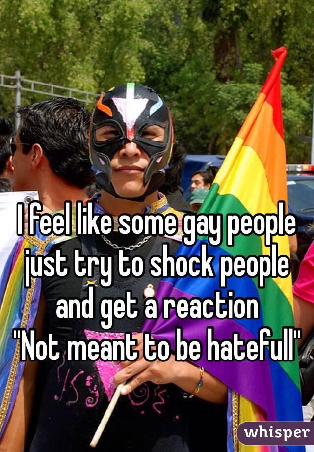 """I feel like some gay people just try to shock people and get a reaction  """"Not meant to be hatefull"""""""