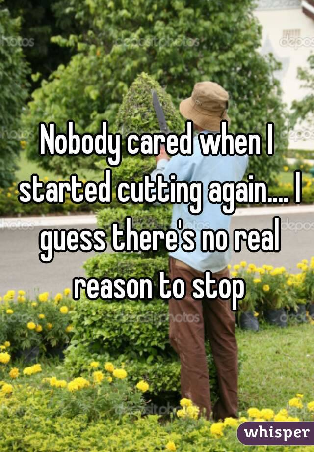 Nobody cared when I started cutting again.... I guess there's no real reason to stop