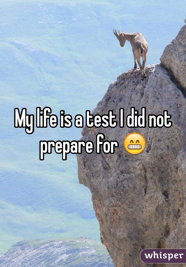 My life is a test I did not prepare for 😁