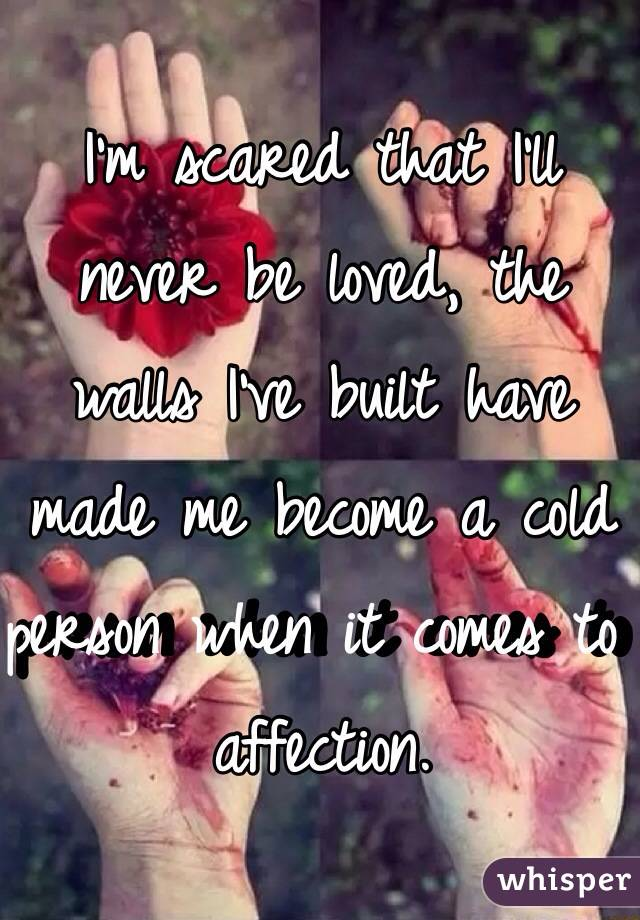 I'm scared that I'll never be loved, the walls I've built have made me become a cold person when it comes to affection.
