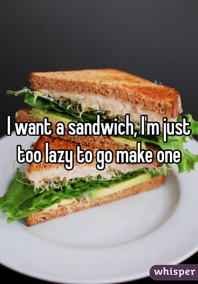 I want a sandwich, I'm just too lazy to go make one