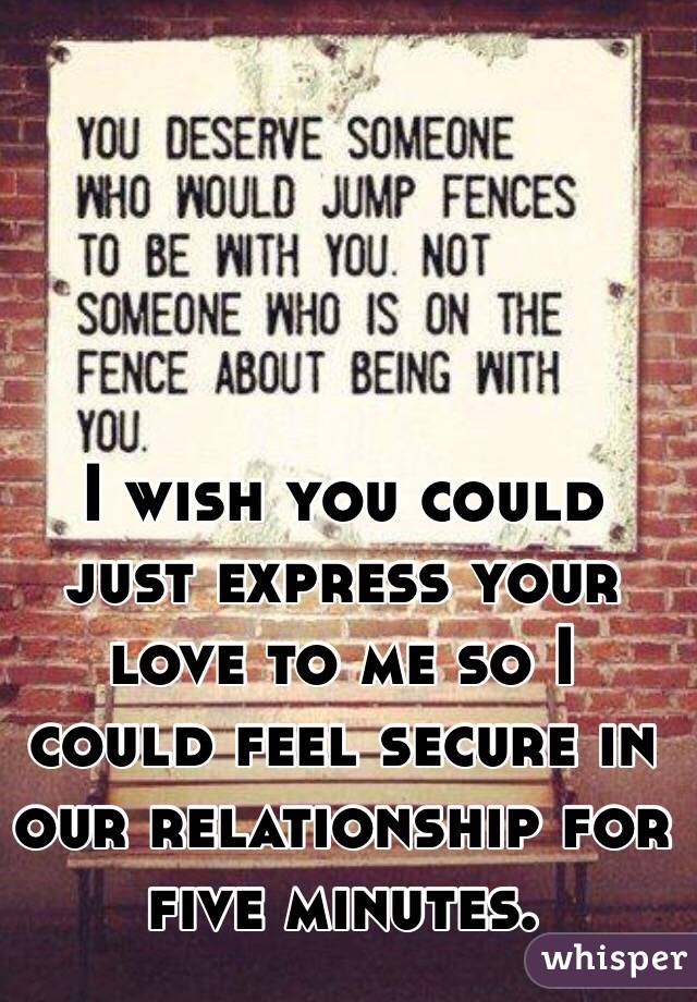 I wish you could just express your love to me so I could feel secure in our relationship for five minutes.