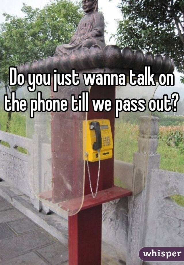 Do you just wanna talk on the phone till we pass out?