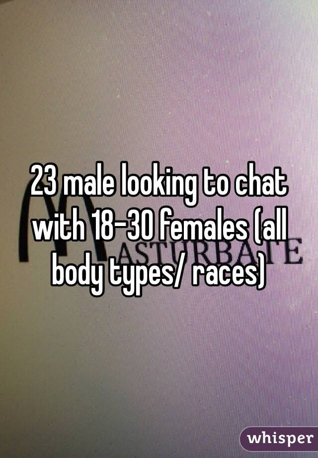23 male looking to chat with 18-30 females (all body types/ races)