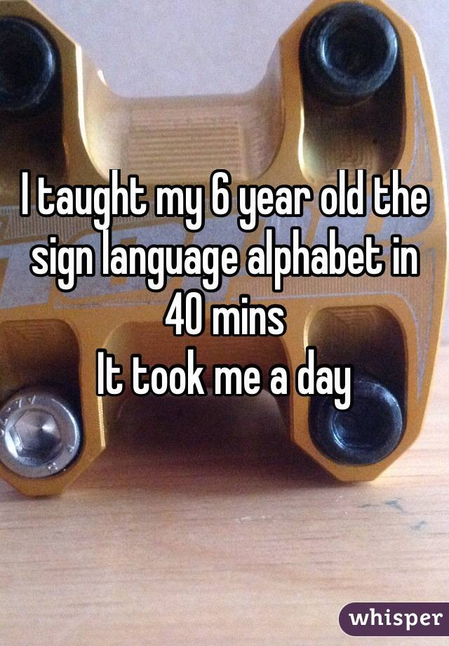 I taught my 6 year old the sign language alphabet in 40 mins It took me a day