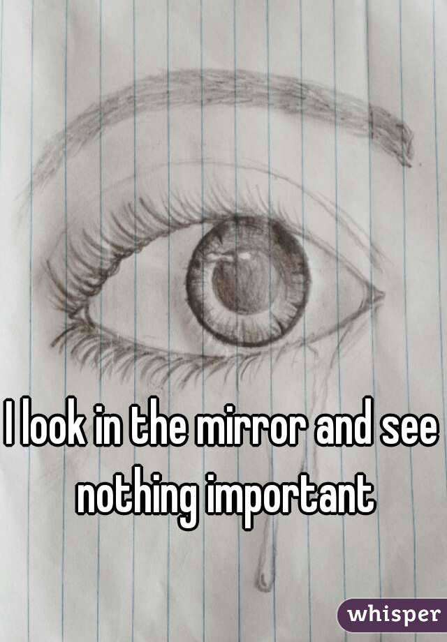 I look in the mirror and see nothing important