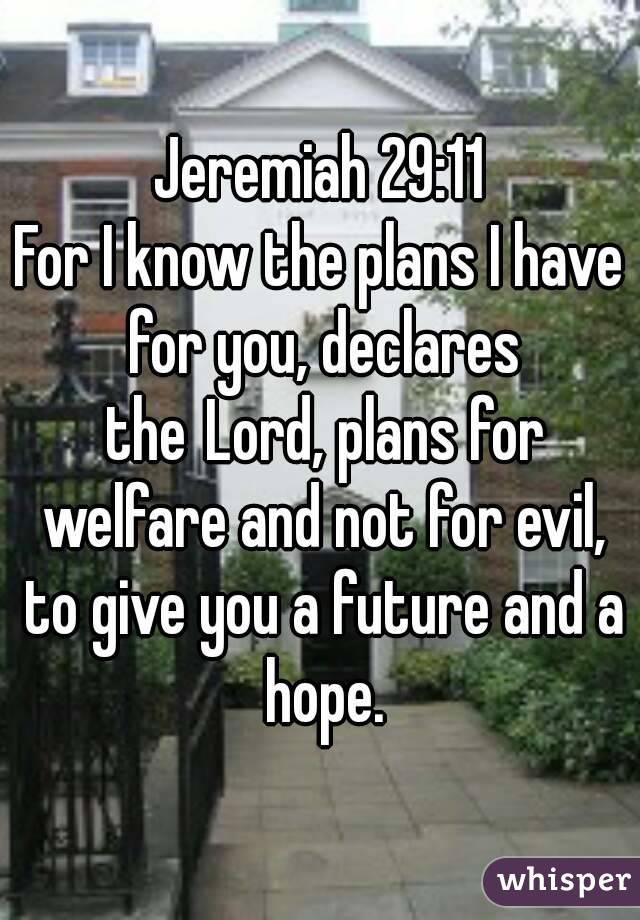 Jeremiah 29:11 For I know the plans I have for you, declares the Lord, plans for welfare and not for evil, to give you a future and a hope.