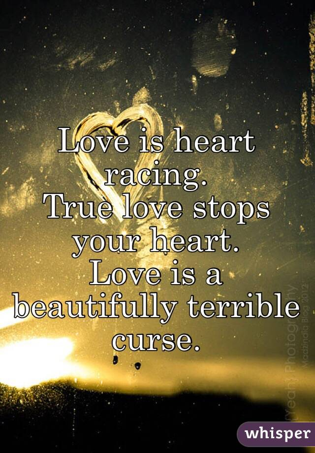 Love is heart racing. True love stops your heart. Love is a beautifully terrible curse.