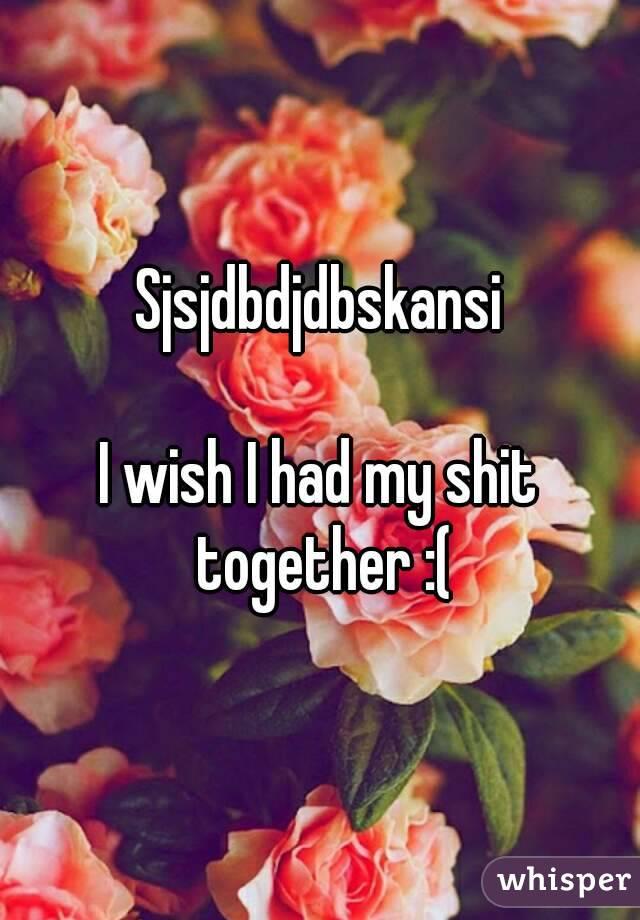 Sjsjdbdjdbskansi  I wish I had my shit together :(