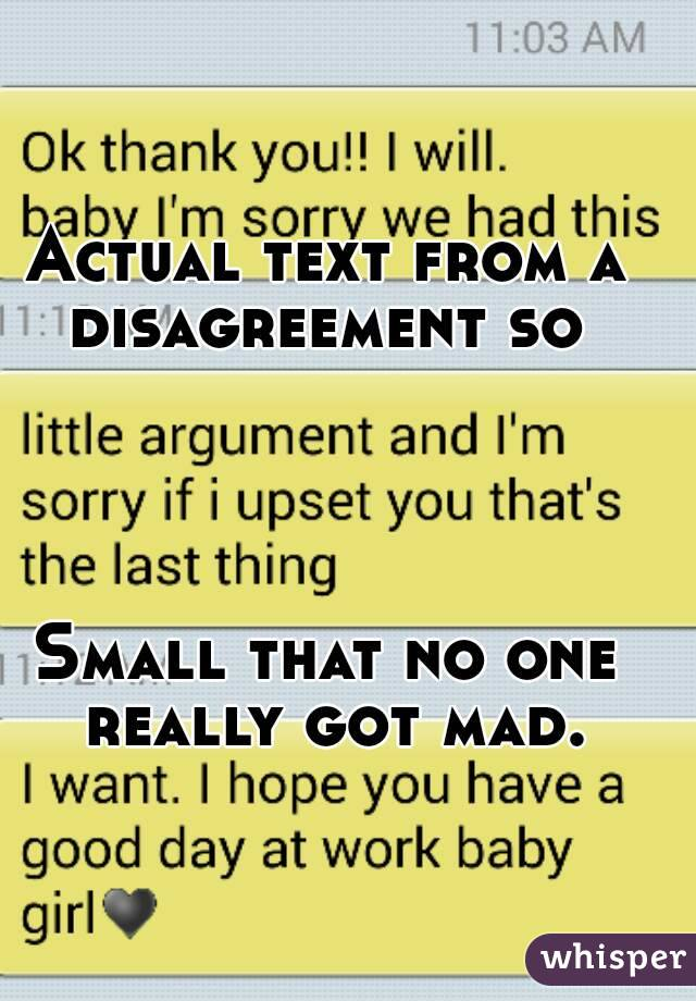 Actual text from a disagreement so      Small that no one really got mad.