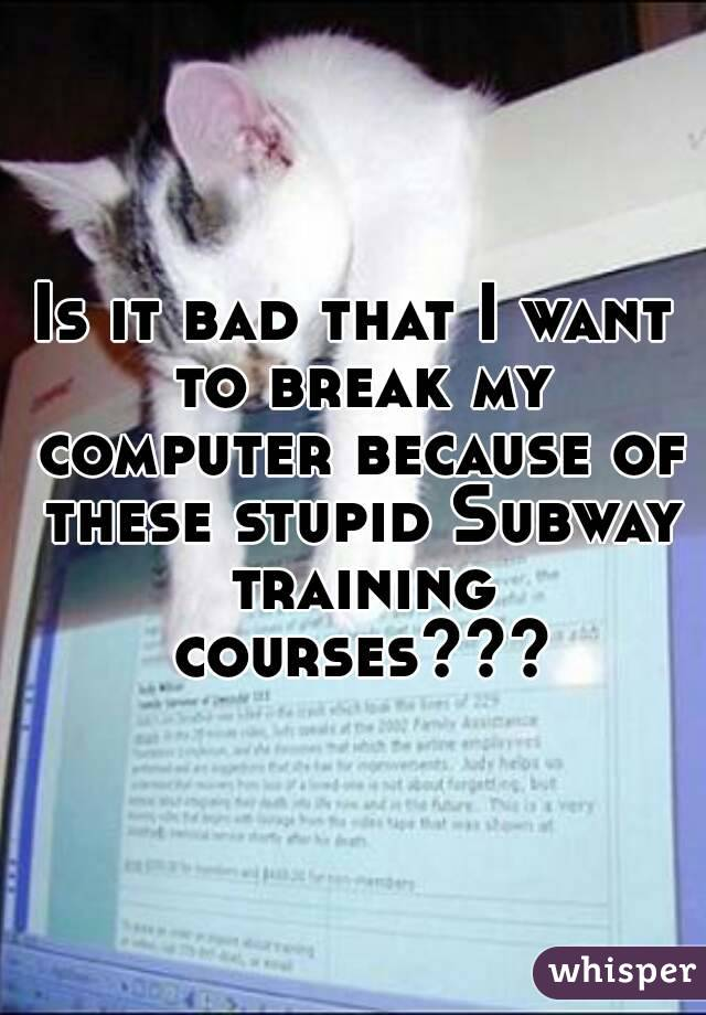 Is it bad that I want to break my computer because of these stupid Subway training courses???