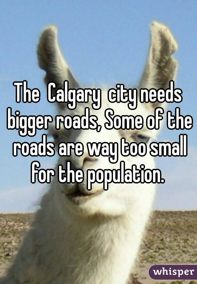 The  Calgary  city needs bigger roads, Some of the roads are way too small for the population.