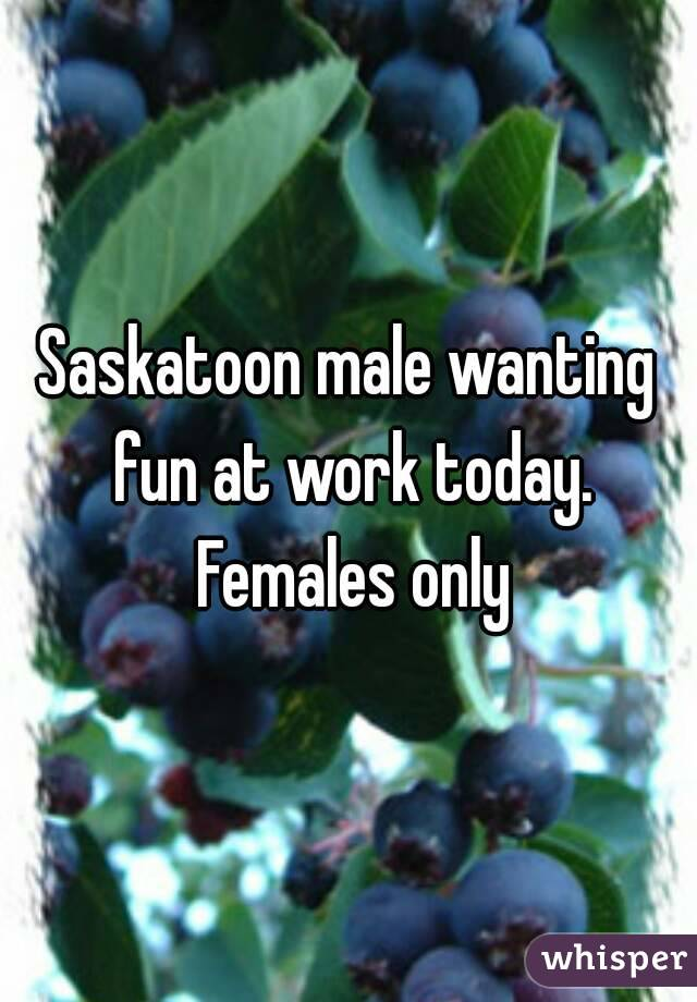 Saskatoon male wanting fun at work today. Females only