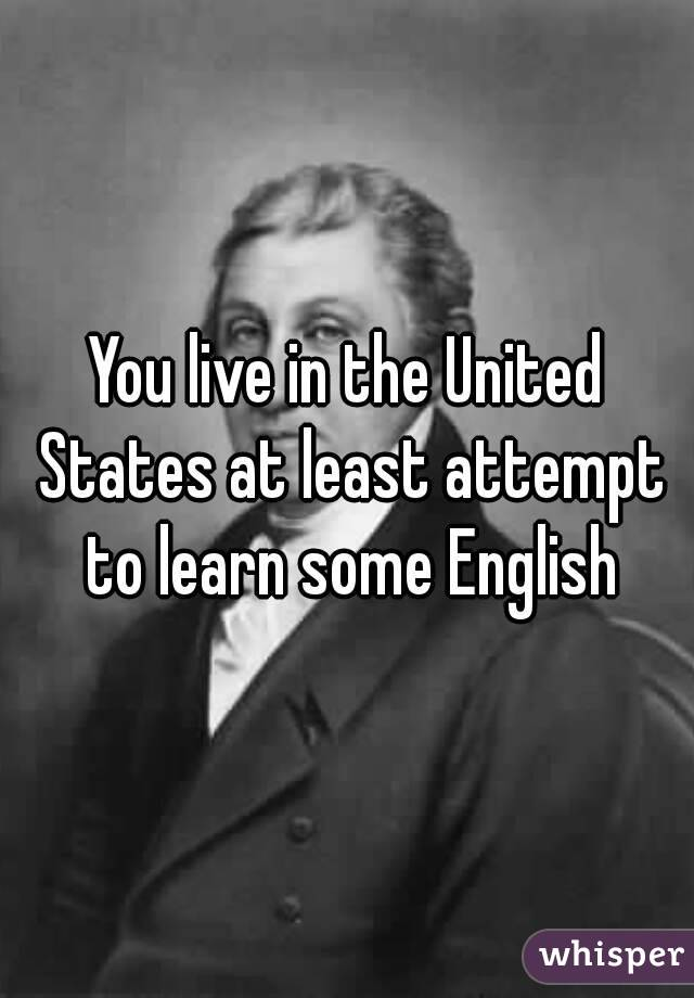 You live in the United States at least attempt to learn some English