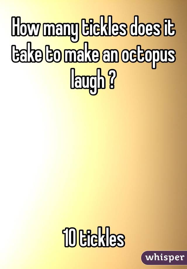 How many tickles does it take to make an octopus laugh ?      10 tickles