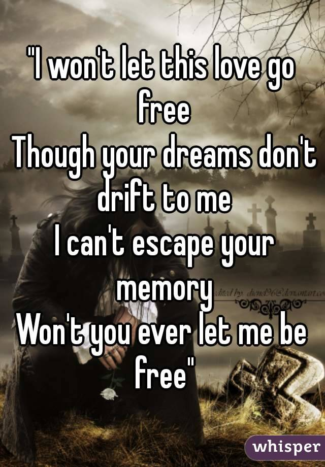"""""""I won't let this love go free  Though your dreams don't drift to me  I can't escape your memory Won't you ever let me be free"""""""