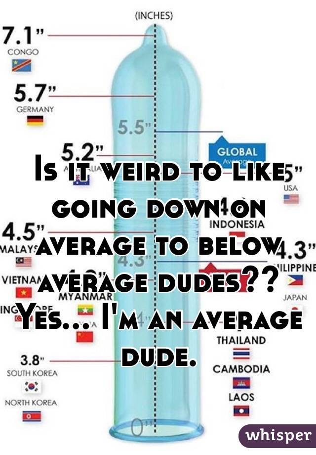 Is it weird to like going down on average to below average dudes?? Yes... I'm an average dude.