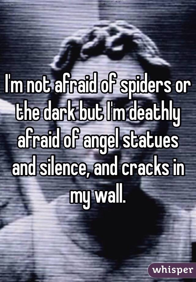 I'm not afraid of spiders or the dark but I'm deathly afraid of angel statues and silence, and cracks in my wall.